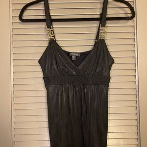 Bebe Shiny Black V Neck Plunge Going Out Top Sz XS